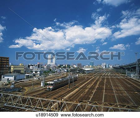 Stock Photograph of Railway Track, Nagoya City, Japan, High Angle.