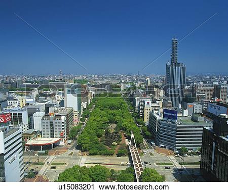 Stock Photography of The Streets in Nagoya, Nagoya City, Japan.