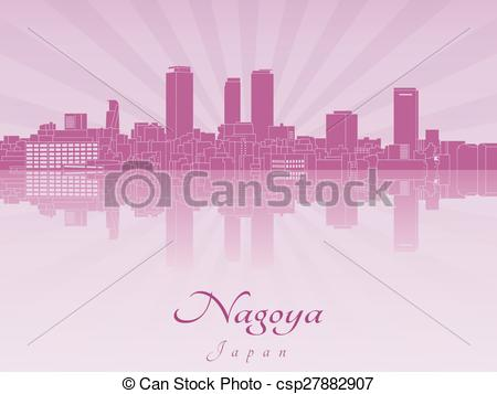 Vector Clipart of Nagoya skyline in purple radiant orchid in.