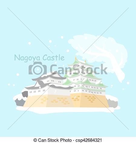 Vector Illustration of Japan nagoya castle in winter.