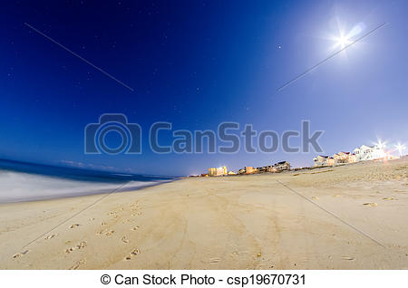 Stock Photos of midnight at nags head pier and beach scenes.