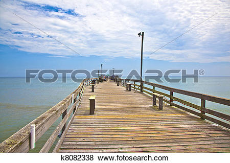 Pictures of people enjoy fishing at the pier in Nags Head k8082338.