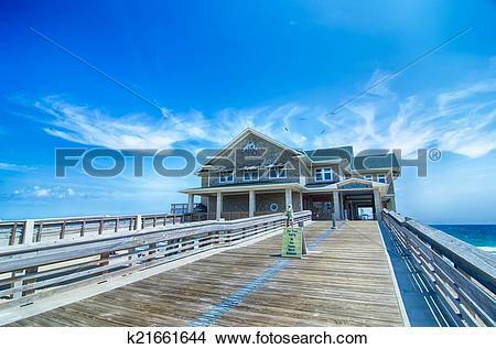 Stock Photo of Jennette's Pier in Nags Head, North Carolina, USA.
