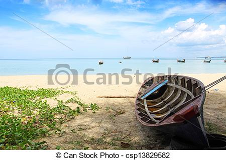 Pictures of Boat on the beach at Nai yang beach, Phuket Thailand.