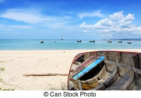 Pictures of Boat on the beach at Nai yang beach, Phuket Thailand.