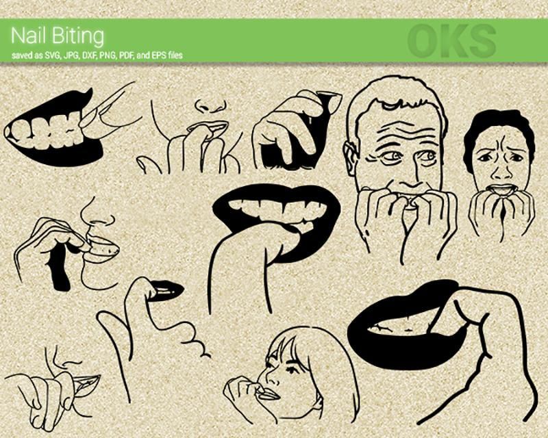 Nail Biting svg, dxf, vector, eps, clipart, cricut, download.