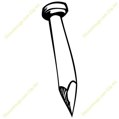 Clip Art Black And White Nail Clipart.