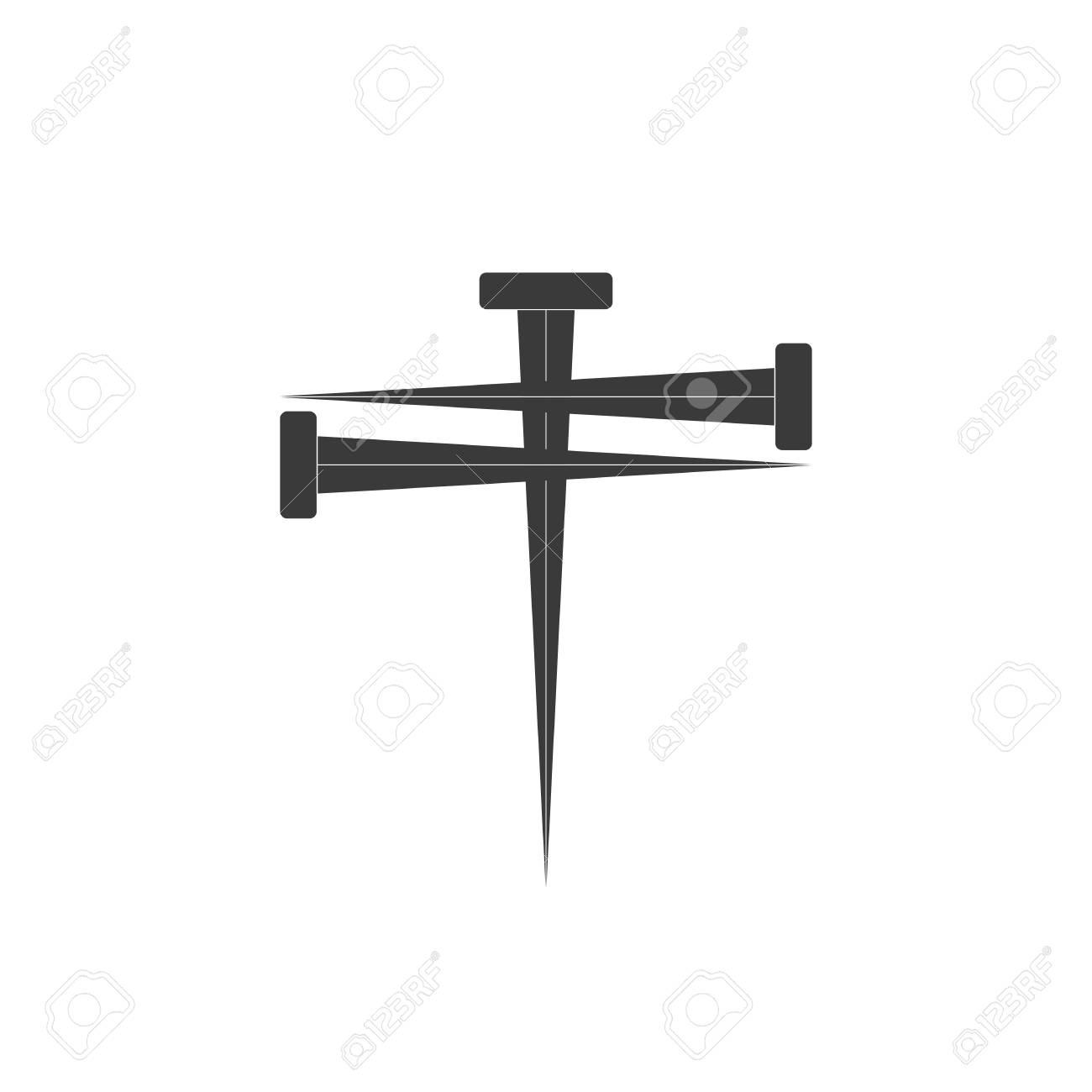 Cross of nail. Cross icon and nail icons. Nail symbol. Vector...