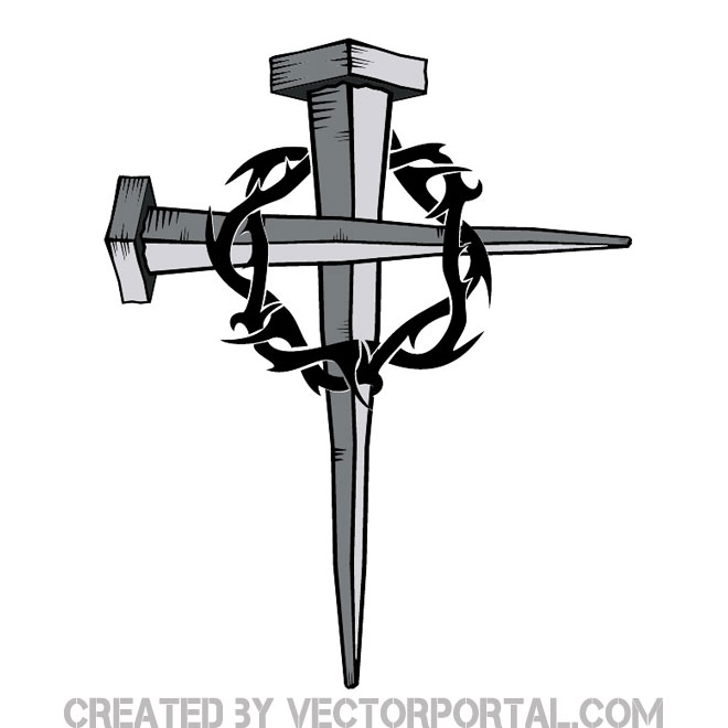 Cross of Nails with Thorn Free Vector.