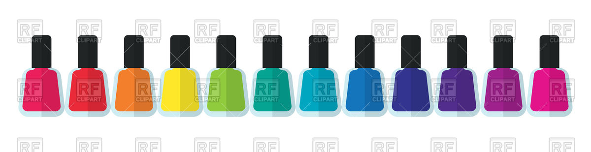Bottles of nail polish in various colors Stock Vector Image.