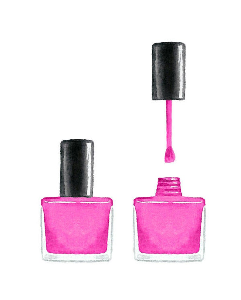 Watercolor Pink Nail Polish Clip Art Set, Collection, Elegance, Beauty,  Paint, Manicure.