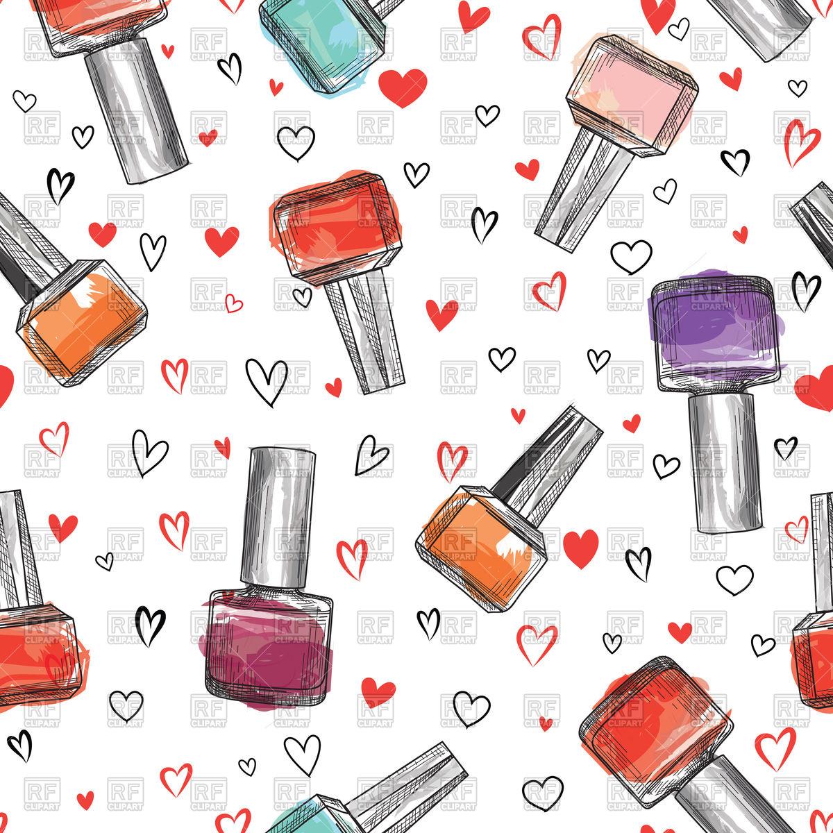 Beauty salon seamless pattern. Nail polish bottle background. Stock Vector  Image.