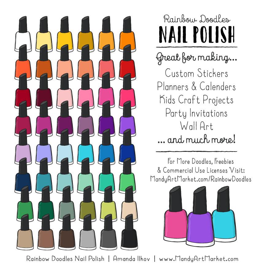 Rainbow Nail Polish Clipart.