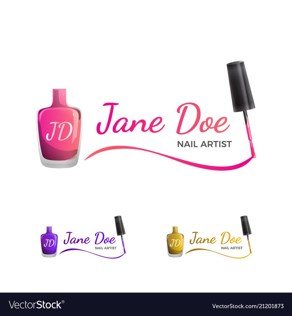 Nail art logo template with nail polish.