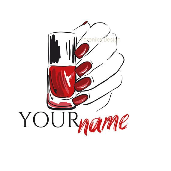 Nail Salon Logo, Beauty Logo, Red Logo, Nails Logo, Nail.