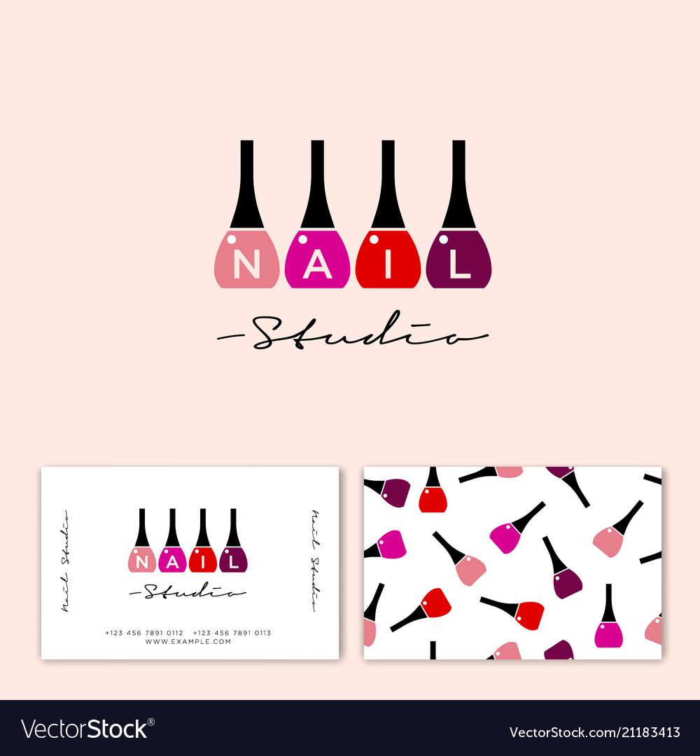 Logo nail studio polish letters identity.