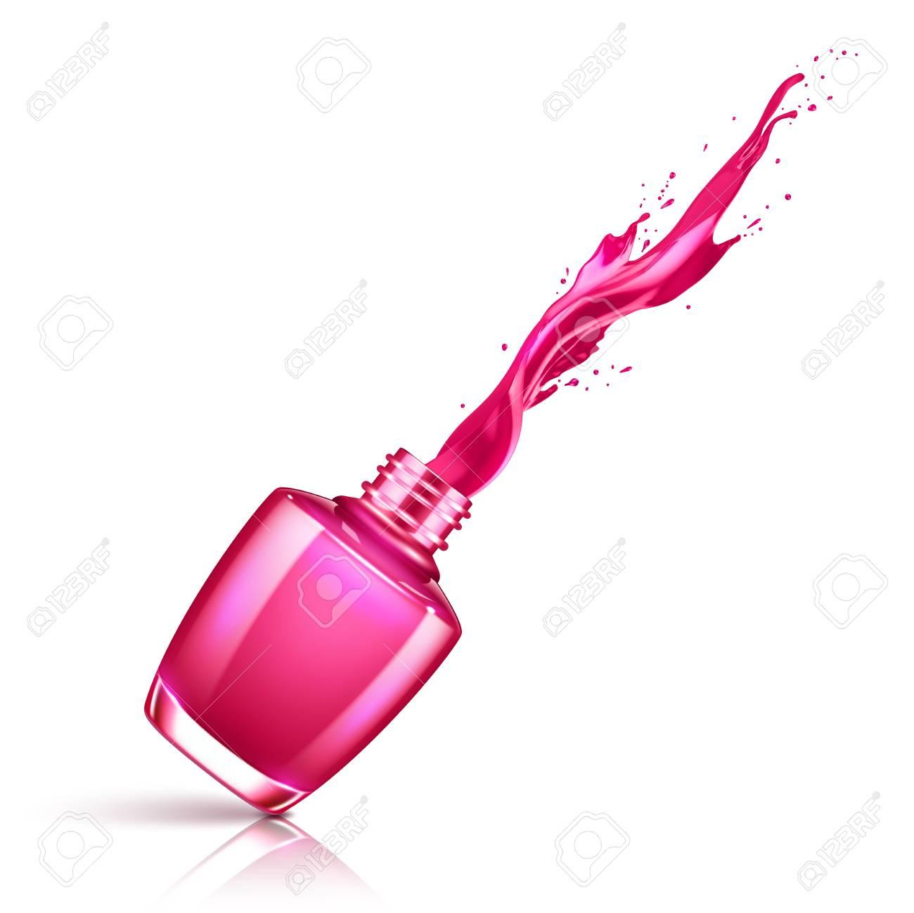 Nail polish splashing from the bottle.