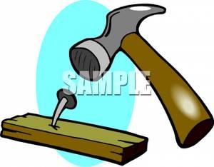 Hammering a nail clipart.