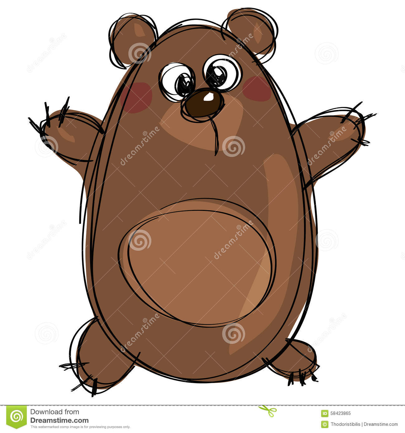 Cartoon Brown Cute Grizzly Bear As Naive Children Drawing Stock.