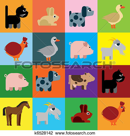Clipart of Animals raster naive caricature k6528142.