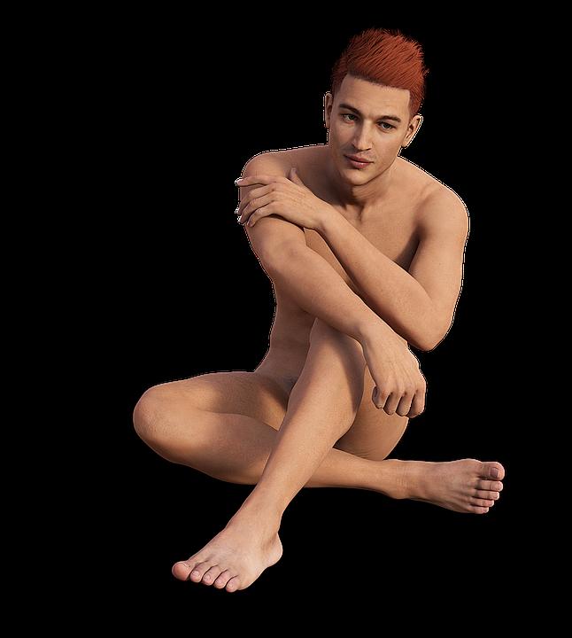 Man Sitting Naked.