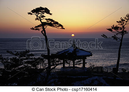 Stock Photography of Naksansa temples in south korea,Sunrise.