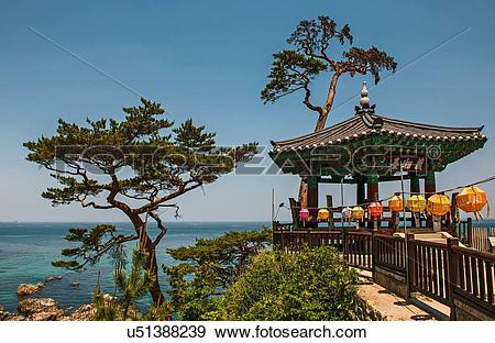 Stock Photograph of View of pavilion at Naksansa Temple, Naksansa.