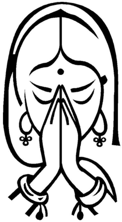 Image result for black and white indian girl namaste clipart.