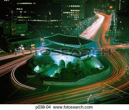 Stock Photo of South Korea, Seoul, Namdaemun (South Gate) at night.