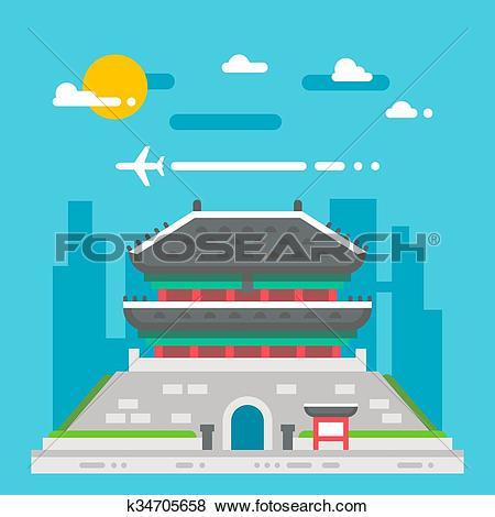 Clip Art of Flat design Namdaemun gate Korea k34705658.