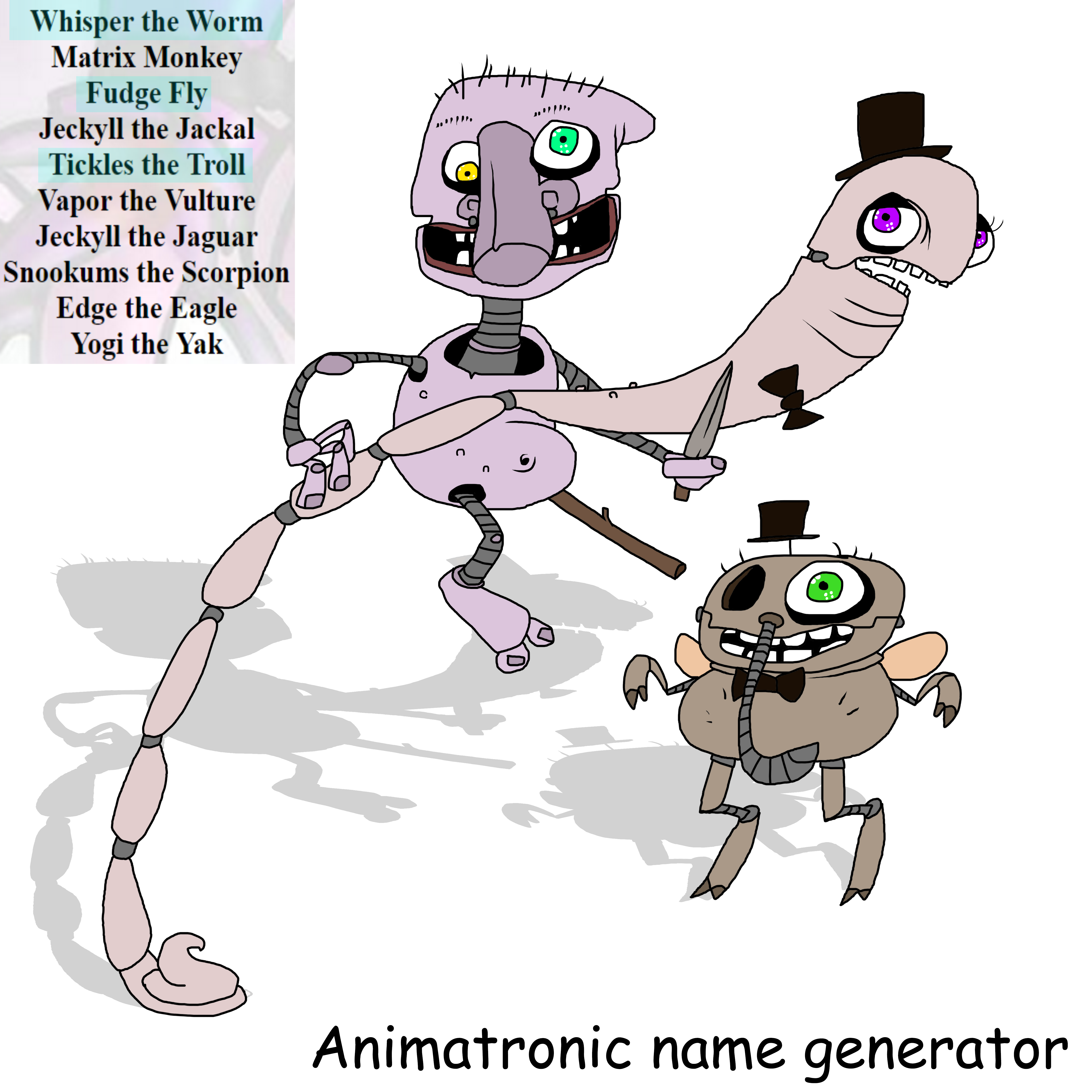 My FNAF OCS!! (Name generator) by KozaBanana on DeviantArt.