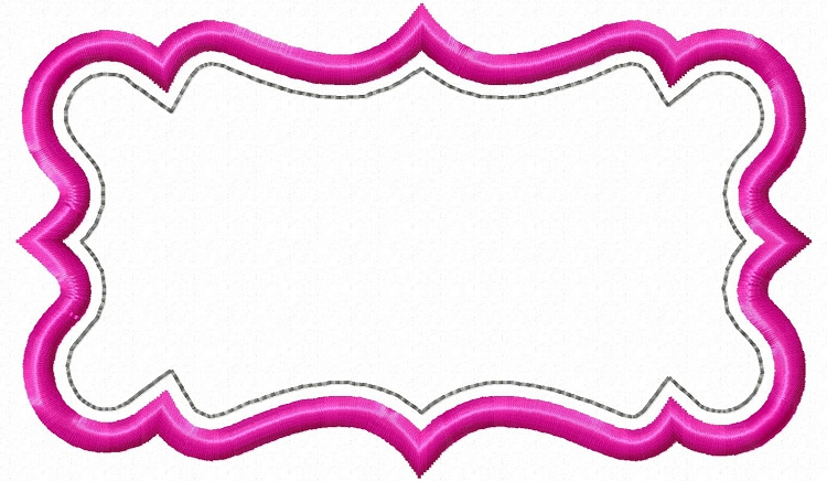 applique name or monogram frame machine embroidery design 8 - Name Frames