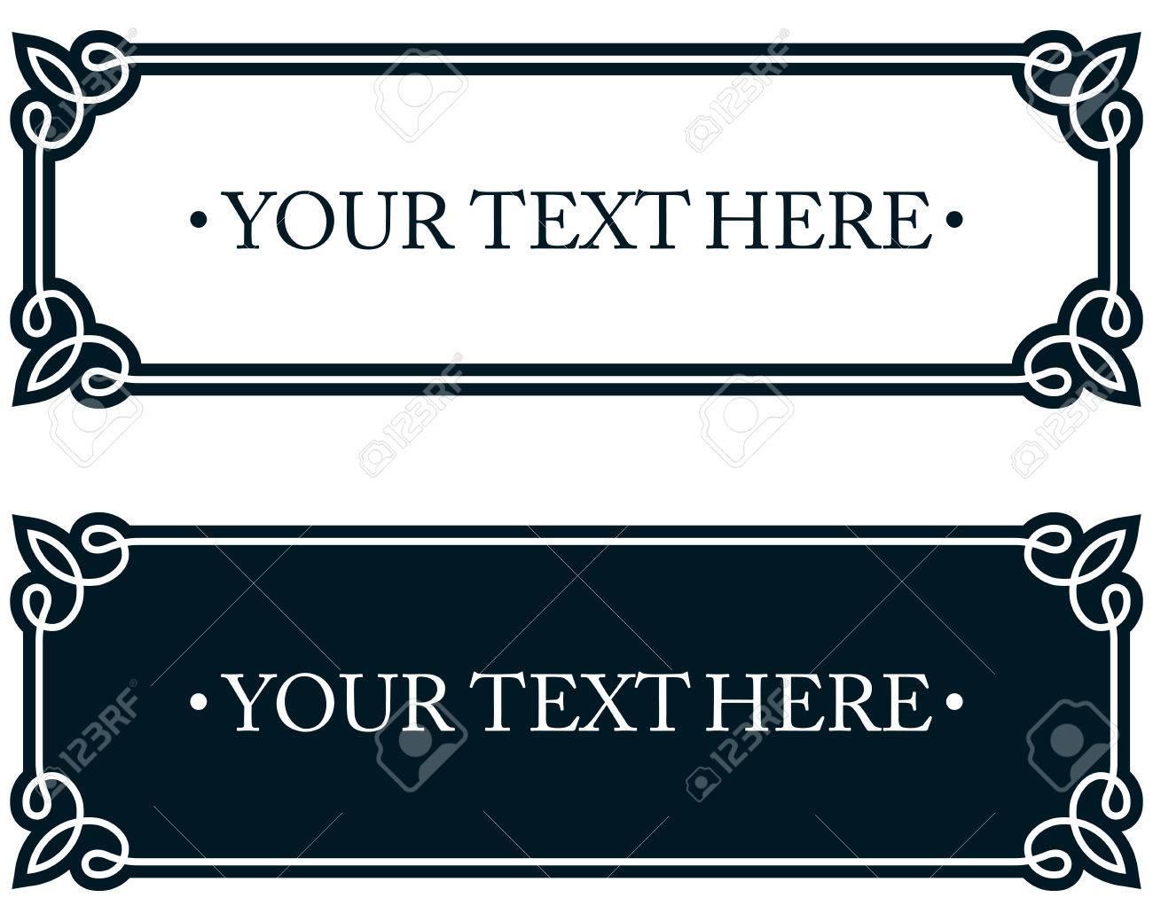 Nameplate plaque border frame. Door plate line deco vector label...