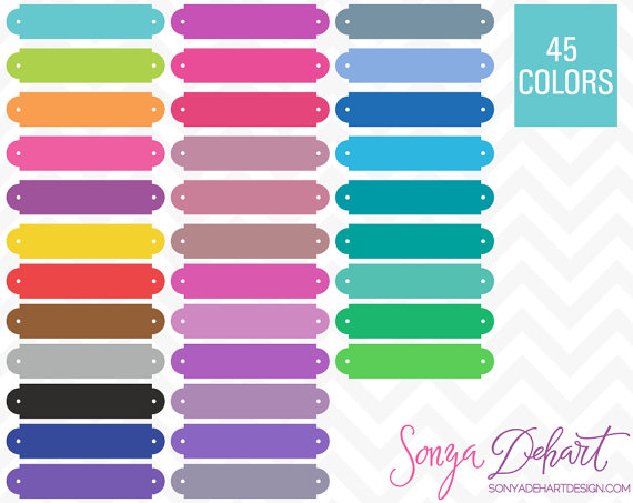 80% OFF Sale Clipart Name Plate Book Plates Labels 45 Colors.