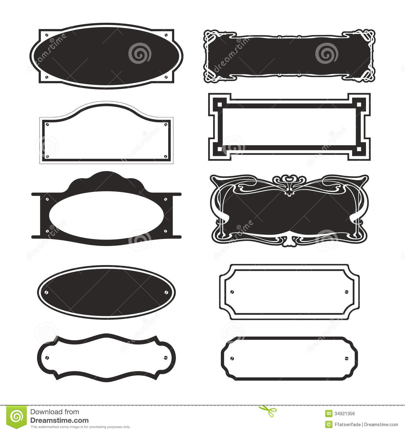 Vintage Name Plate Clipart.