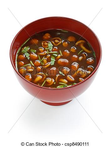 Stock Photography of nameko mushrooms miso soup, japanese food.
