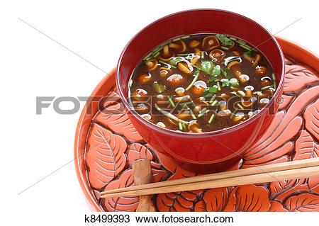 Stock Photo of nameko mushrooms miso soup k8499393.