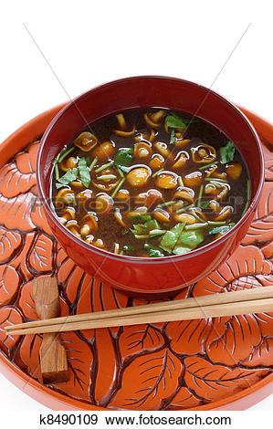 Stock Photograph of nameko mushrooms miso soup k8490109.