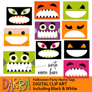 Halloween Party Name Tags Clip Art.
