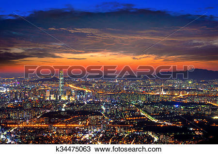 Stock Photo of South Korea skyline of Seoul, The best view of.