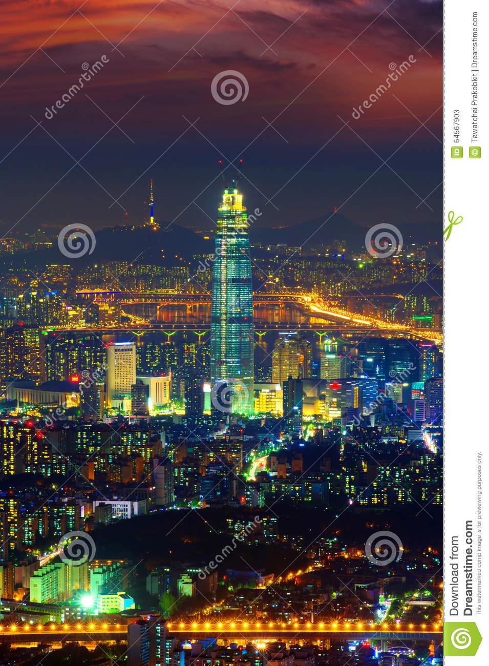South Korea Skyline Of Seoul, The Best View Of South Korea. Stock.