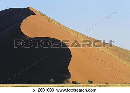 Stock Photograph of Sand dunes, Sossuvlei, Namib Desert, Namibia.