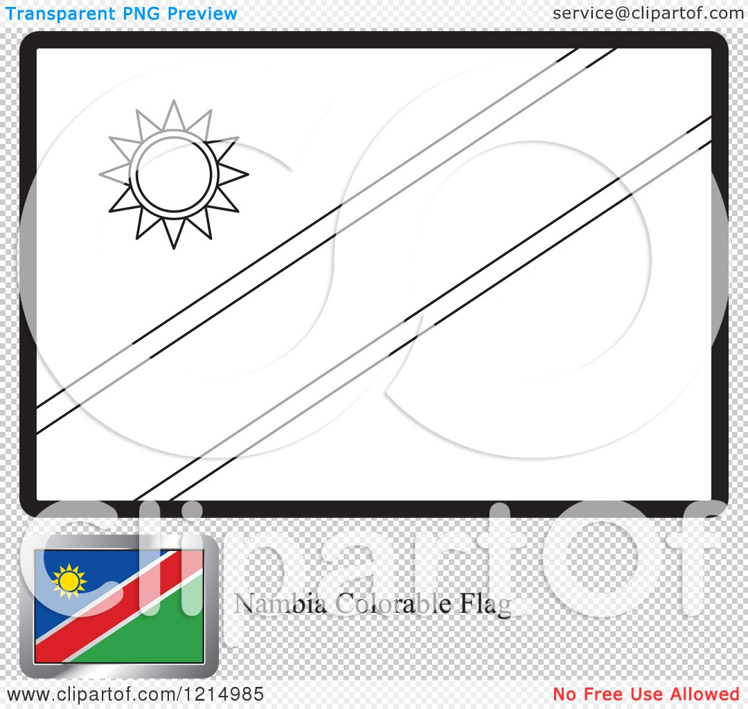 Clipart of a Coloring Page and Sample for a Namibia Flag.