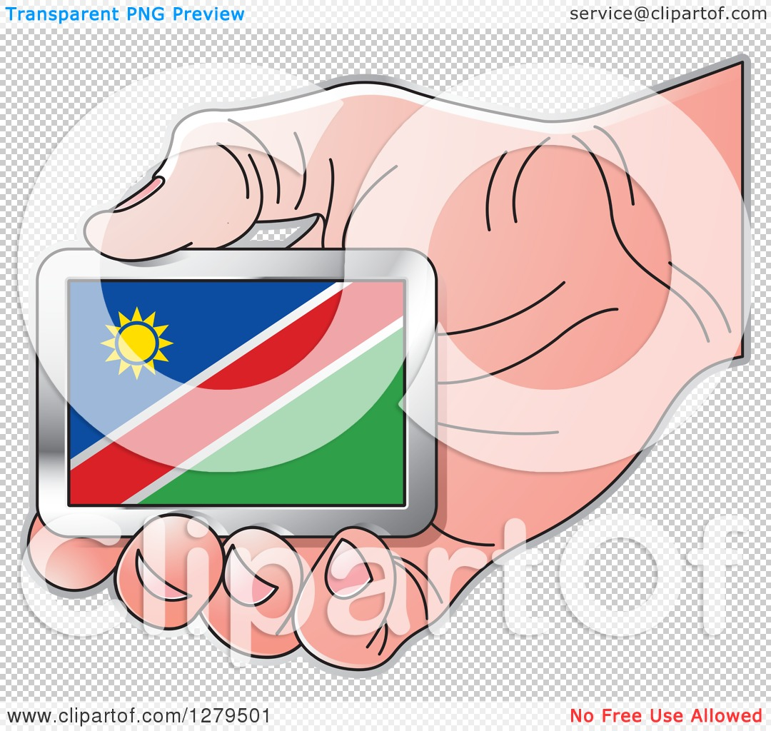 Clipart of a Caucasian Hand Holding a Namibia Flag.