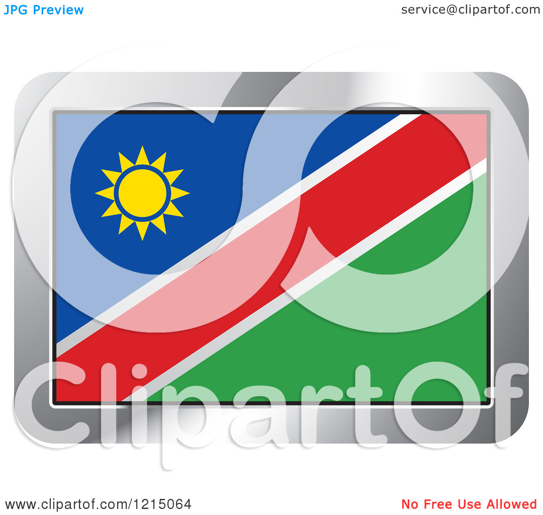 Clipart of a Namibia Flag and Silver Frame Icon.