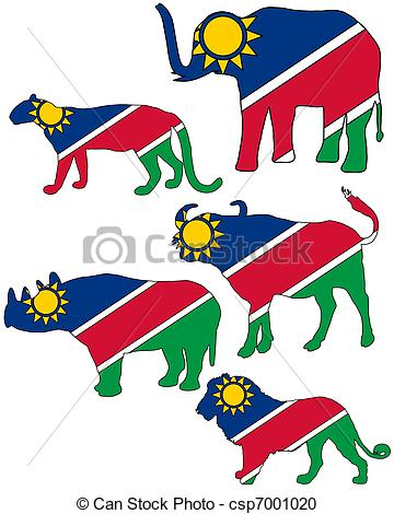 Vector Clipart of Big Five Namibia.