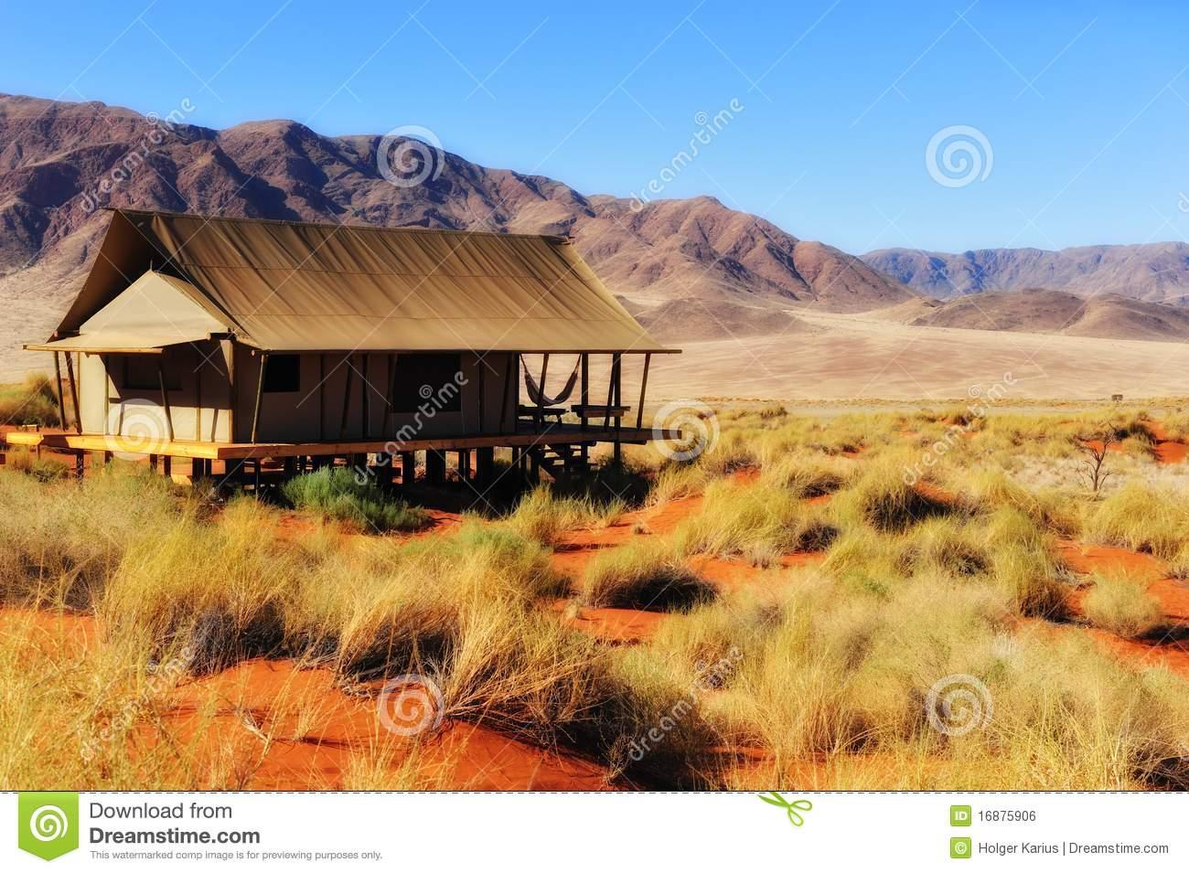 Safari Tent In The Namib Desert (Namibia) Royalty Free Stock Image.