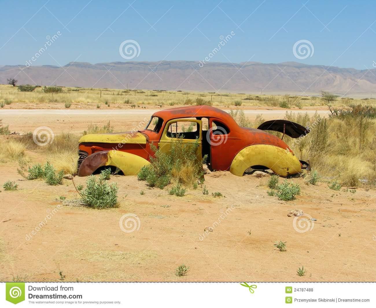 Old Car Wreck On Namibian Desert Royalty Free Stock Photos.