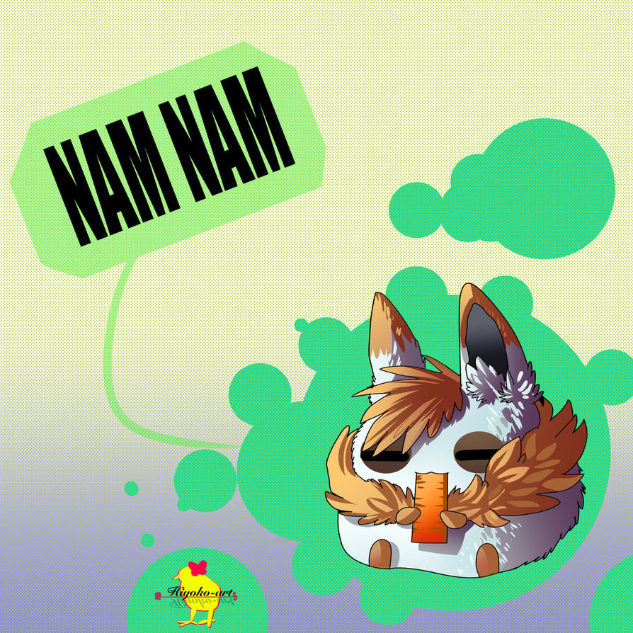 Nam Nam~ [ Chibi White Rabbit ] by Hiyoko.