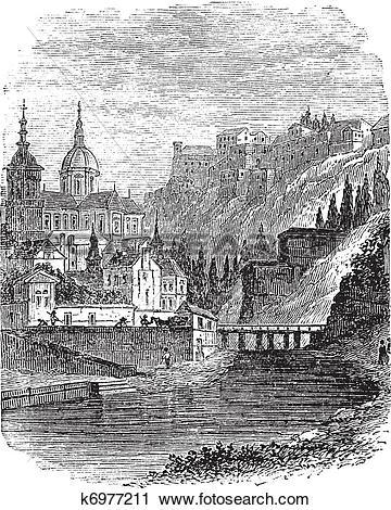 Clipart of Namur in Wallonia, Belgium, vintage engraved.